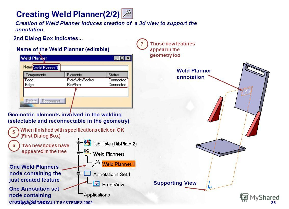 Copyright DASSAULT SYSTEMES 200285 Creation of Weld Planner induces creation of a 3d view to support the annotation. 5 When finished with specifications click on OK (First Dialog Box) 6 Creating Weld Planner(2/2) 2nd Dialog Box indicates... Name of t