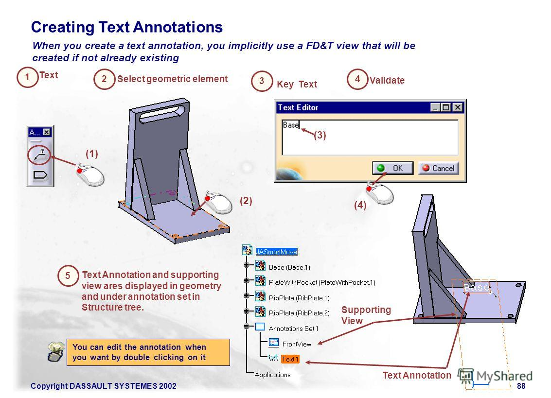 Copyright DASSAULT SYSTEMES 200288 1 4 When you create a text annotation, you implicitly use a FD&T view that will be created if not already existing 2 5 Creating Text Annotations Validate Text Text Annotation and supporting view ares displayed in ge