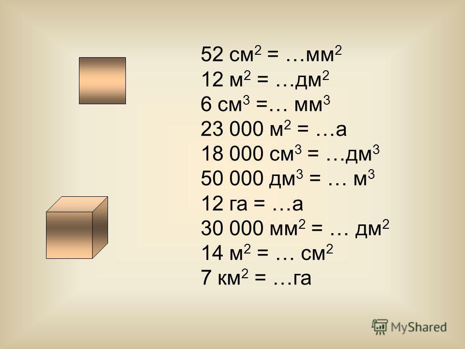 52 см 2 = …мм 2 12 м 2 = …дм 2 6 см 3 =… мм 3 23 000 м 2 = …а 18 000 см 3 = …дм 3 50 000 дм 3 = … м 3 12 га = …а 30 000 мм 2 = … дм 2 14 м 2 = … см 2 7 км 2 = …га