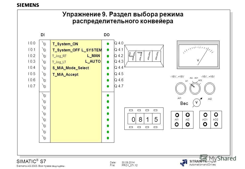 Date:30.09.2014 File:PRO1_07r.12 SIMATIC ® S7 Siemens AG 2003. Все права защищены. SITRAIN Training for Automation and Drives Упражнение 9. Раздел выбора режима распределительного конвейера V 0 8 1 5 AI1AI2AO1AO2 AI2 AI1 -15V...+15V AI1 AI2 AO1 AO2 V