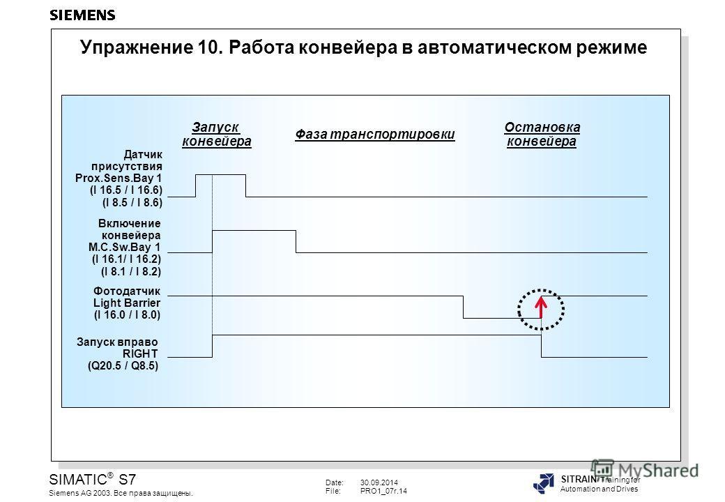 Date:30.09.2014 File:PRO1_07r.14 SIMATIC ® S7 Siemens AG 2003. Все права защищены. SITRAIN Training for Automation and Drives Упражнение 10. Работа конвейера в автоматическом режиме Включение конвейера M.C.Sw.Bay 1 (I 16.1/ I 16.2) (I 8.1 / I 8.2) Да