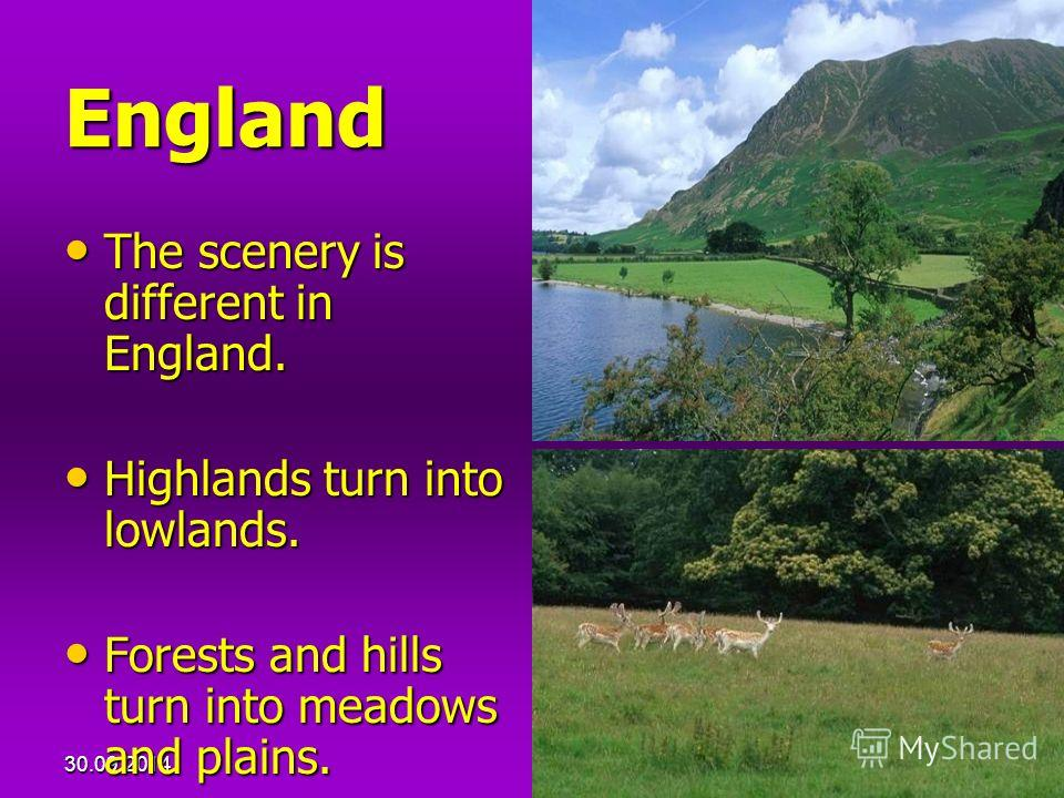 30.09.201423 England The scenery is different in England. The scenery is different in England. Highlands turn into lowlands. Highlands turn into lowlands. Forests and hills turn into meadows and plains. Forests and hills turn into meadows and plains.