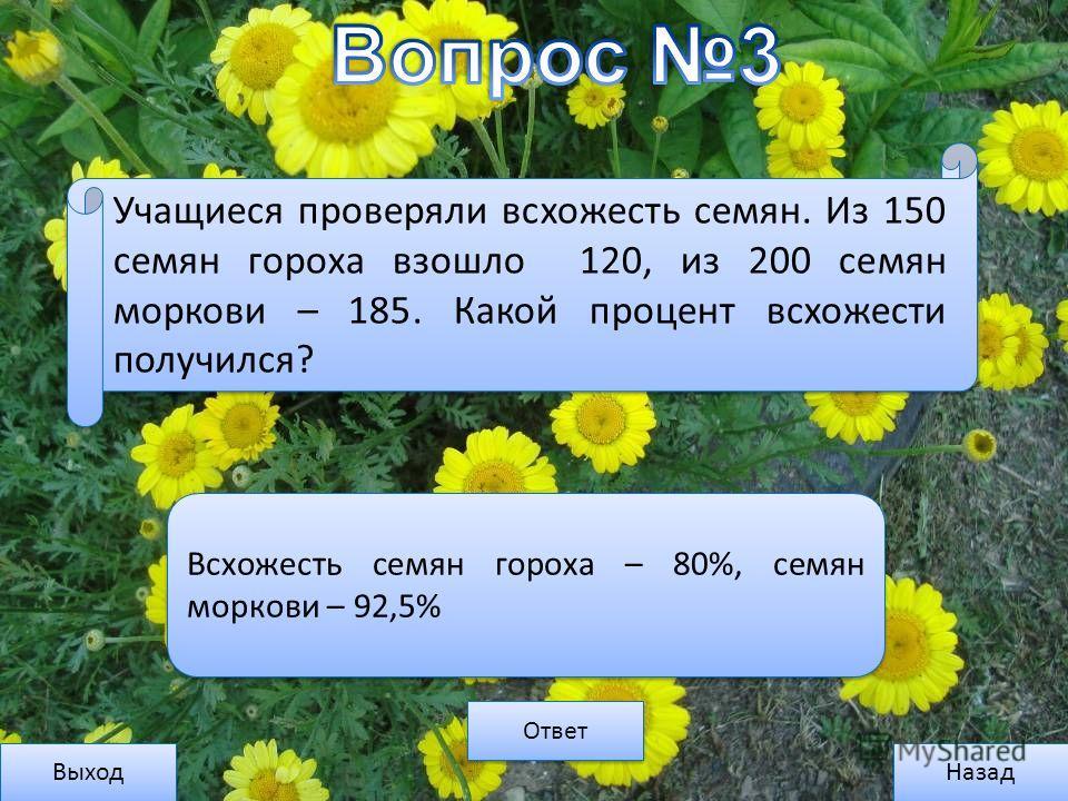 Выход Назад Ответ Всхожесть семян гороха – 80%, семян моркови – 92,5% Учащиеся проверяли всхожесть семян. Из 150 семян гороха взошло 120, из 200 семян моркови – 185. Какой процент всхожести получился?