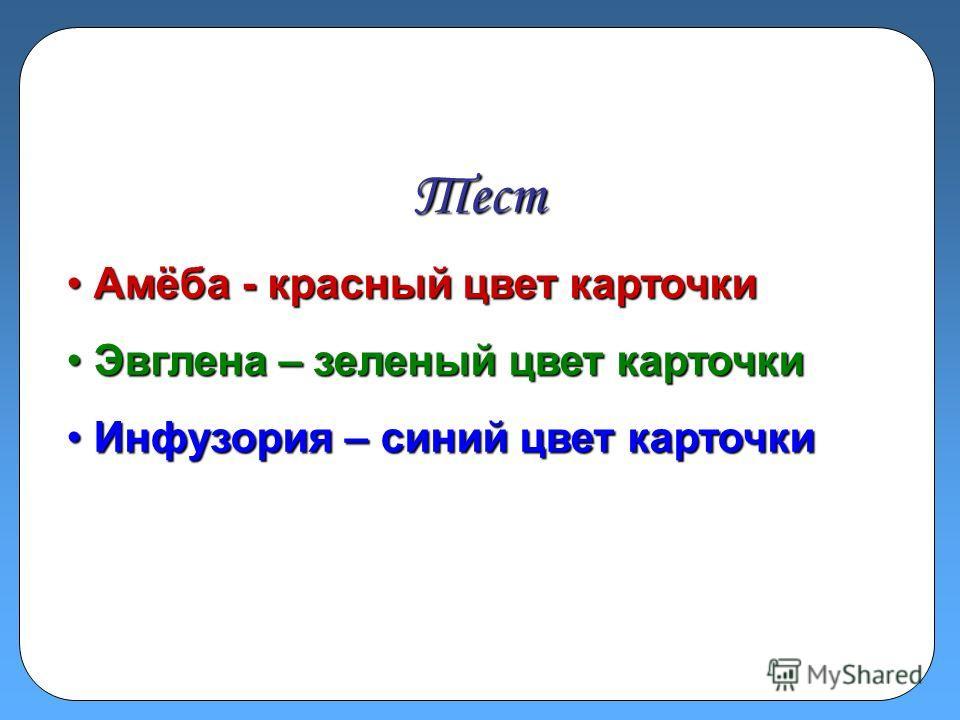 Тест А Амёба - красный цвет карточки Э Эвглена – зеленый цвет карточки И Инфузория – синий цвет карточки
