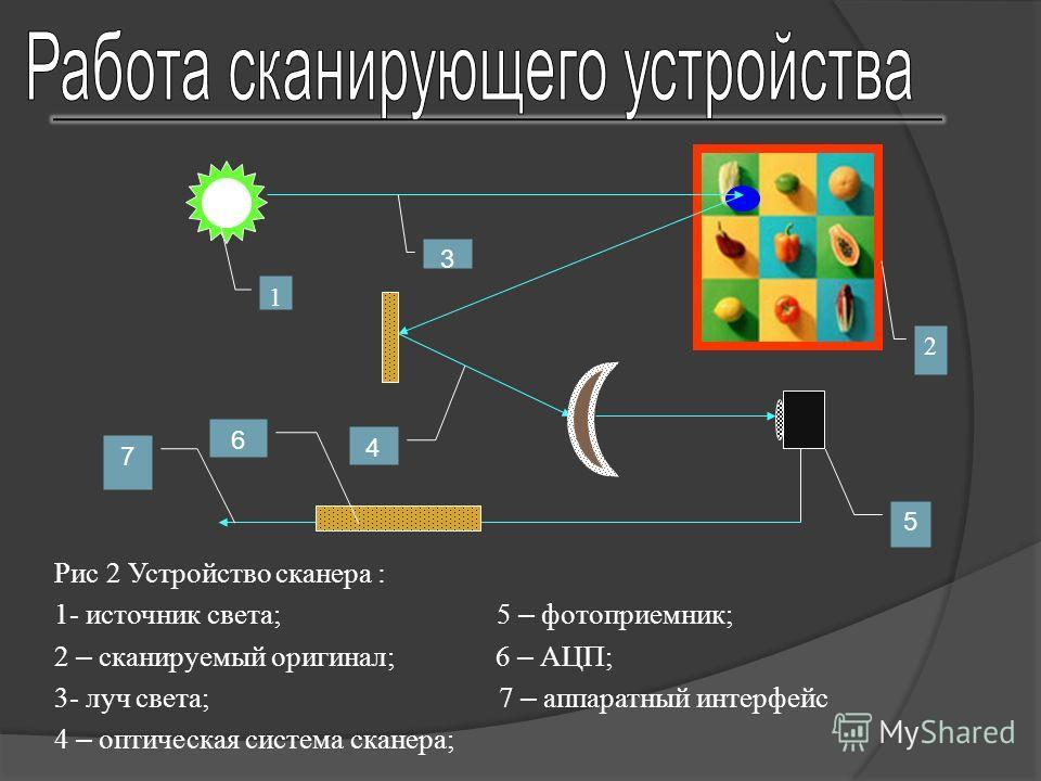 1 3 2 4 6 5 7 Рис 2 Устройство сканера : 1- источник света; 5 – фотоприемник; 2 – сканируемый оригинал; 6 – АЦП; 3- луч света; 7 – аппаратный интерфейс 4 – оптическая система сканера;