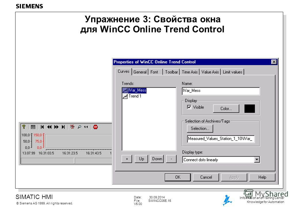 SIMATIC HMI Siemens AG 1999. All rights reserved.© Information and Training Center Knowledge for Automation Date: 30.09.2014 File:SWINCC06E.15 V5.00 Упражнение 3: Свойства окна для WinCC Online Trend Control