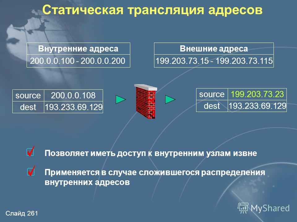 Слайд 260 Виды трансляции адресов Статическая (двунаправленная) Это задание однозначного соответствия между внутренним адресом ресурса и его адресом во внешней сети Динамическая (трансляция адресов-портов) Это отображение адресного пространства внутр