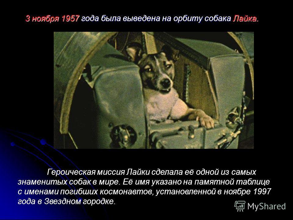 3 ноября 1957 года была выведена на орбиту собака Лайка. Героическая миссия Лайки сделала её одной из самых знаменитых собак в мире. Её имя указано на памятной таблице с именами погибших космонавтов, установленной в ноябре 1997 года в Звездном городк