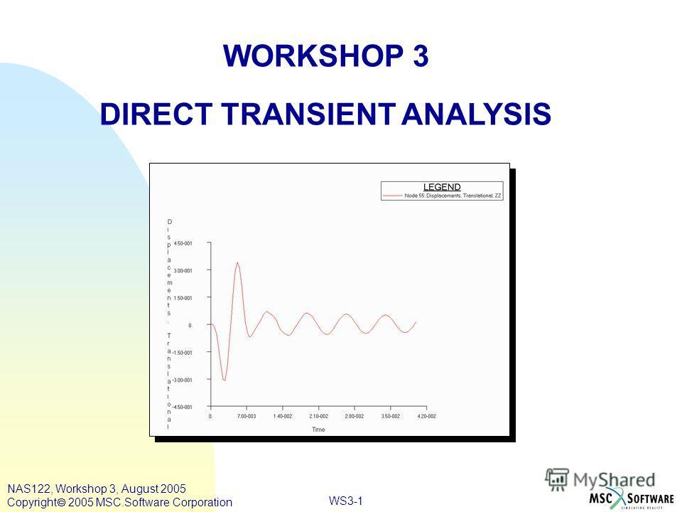 WS3-1 WORKSHOP 3 DIRECT TRANSIENT ANALYSIS NAS122, Workshop 3, August 2005 Copyright 2005 MSC.Software Corporation