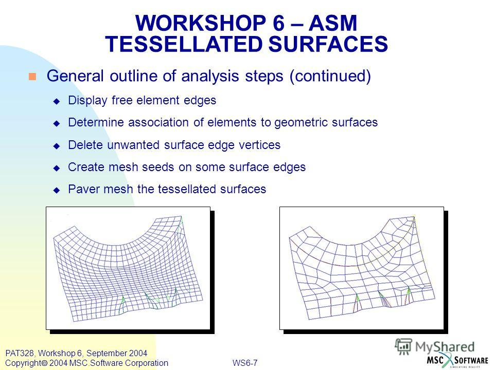 WS6-7 PAT328, Workshop 6, September 2004 Copyright 2004 MSC.Software Corporation General outline of analysis steps (continued) Display free element edges Determine association of elements to geometric surfaces Delete unwanted surface edge vertices Cr