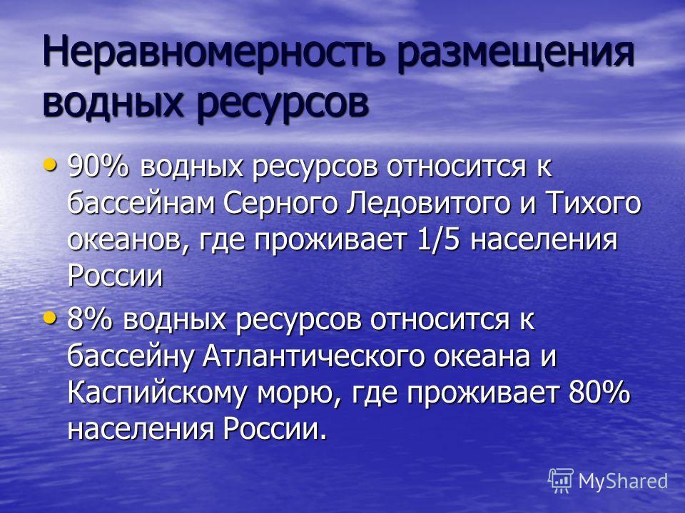 Неравномерность размещения водных ресурсов 90% водных ресурсов относится к бассейнам Серного Ледовитого и Тихого океанов, где проживает 1/5 населения России 90% водных ресурсов относится к бассейнам Серного Ледовитого и Тихого океанов, где проживает