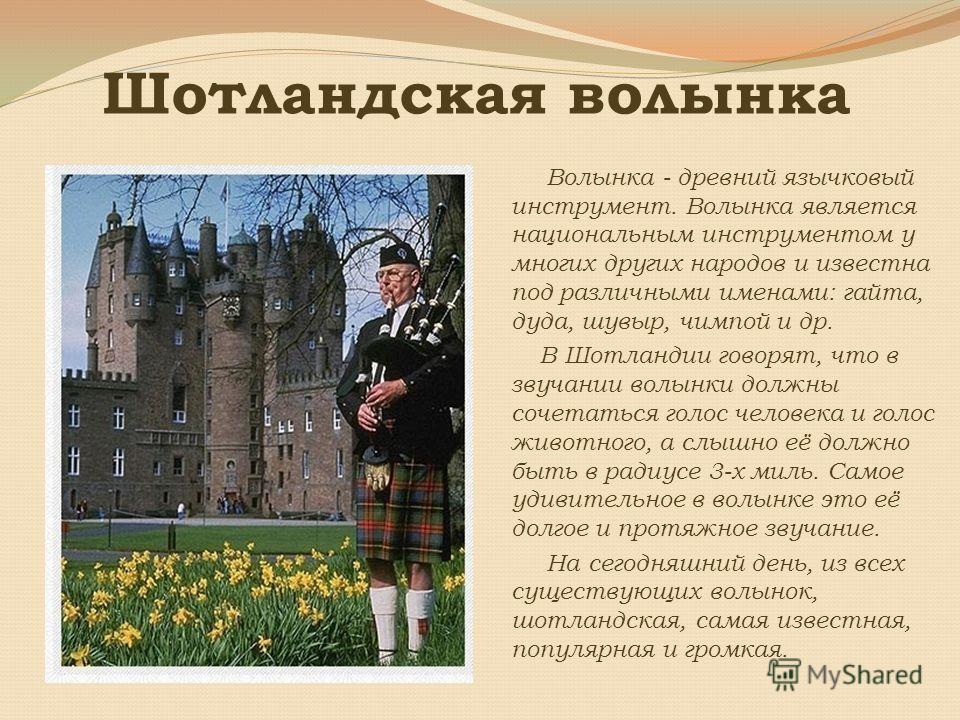 Шотландская волынка Волынка - древний язычковый инструмент. Волынка является национальным инструментом у многих других народов и известна под различными именами: гайта, дуда, шувыр, чимпой и др. В Шотландии говорят, что в звучании волынки должны соче
