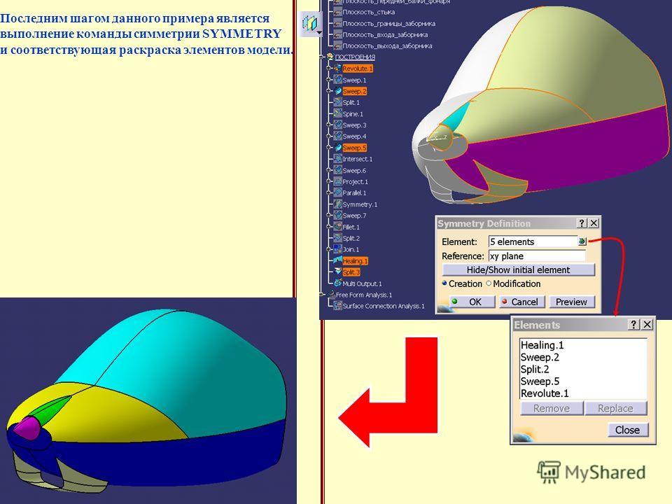 Последним шагом данного примера является выполнение команды симметрии SYMMETRY и соответствующая раскраска элементов модели.