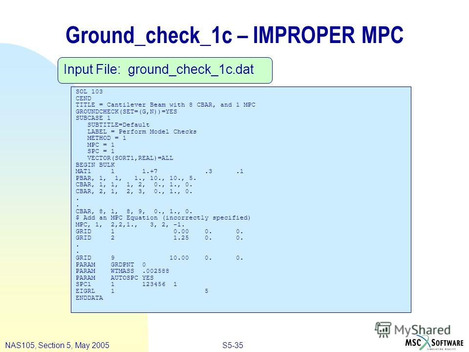 S5-35NAS105, Section 5, May 2005 Ground_check_1c – IMPROPER MPC SOL 103 CEND TITLE = Cantilever Beam with 8 CBAR, and 1 MPC GROUNDCHECK(SET=(G,N))=YES SUBCASE 1 SUBTITLE=Default LABEL = Perform Model Checks METHOD = 1 MPC = 1 SPC = 1 VECTOR(SORT1,REA