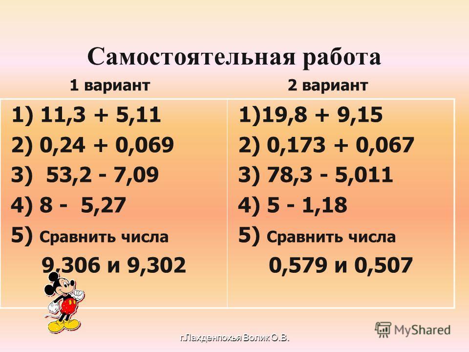 Самостоятельная работа 1) 11,3 + 5,11 2) 0,24 + 0,069 3) 53,2 - 7,09 4) 8 - 5,27 5) Сравнить числа 9,306 и 9,302 1)19,8 + 9,15 2) 0,173 + 0,067 3) 78,3 - 5,011 4) 5 - 1,18 5) Сравнить числа 0,579 и 0,507 1 вариант 2 вариант г.Лахденпохья Волик О.В.