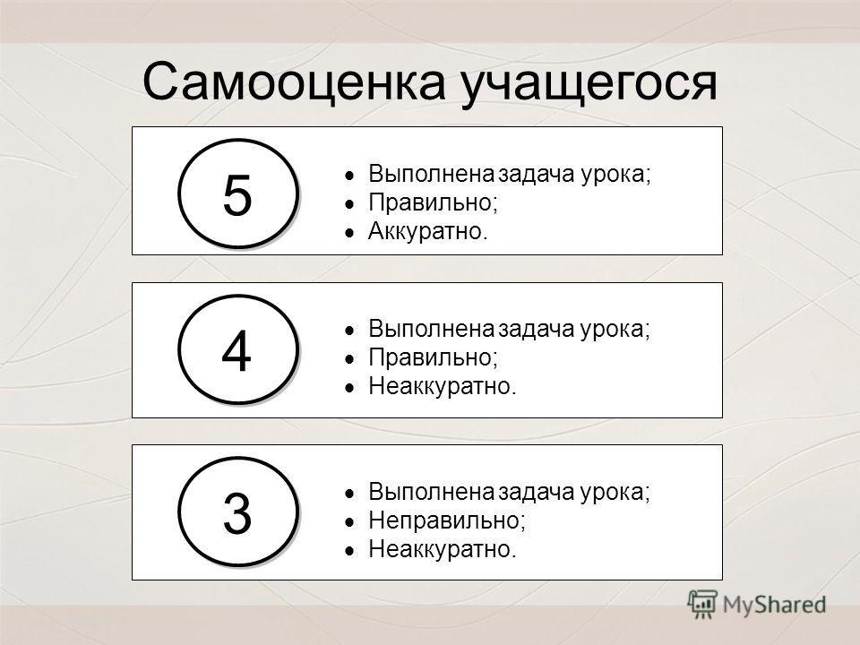 Выполнена задача урока; Правильно; Неаккуратно. Выполнена задача урока; Правильно; Аккуратно. 5 5 4 4 Выполнена задача урока; Неправильно; Неаккуратно. 3 3 Самооценка учащегося