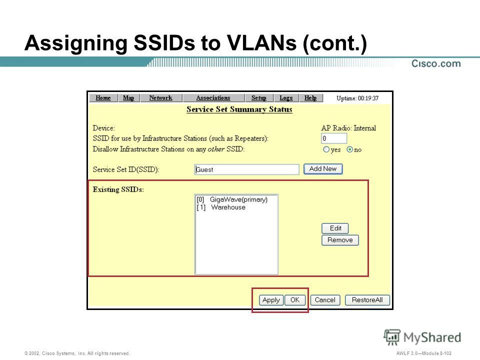 © 2002, Cisco Systems, Inc. All rights reserved. AWLF 3.0Module 8-102 Assigning SSIDs to VLANs (cont.)