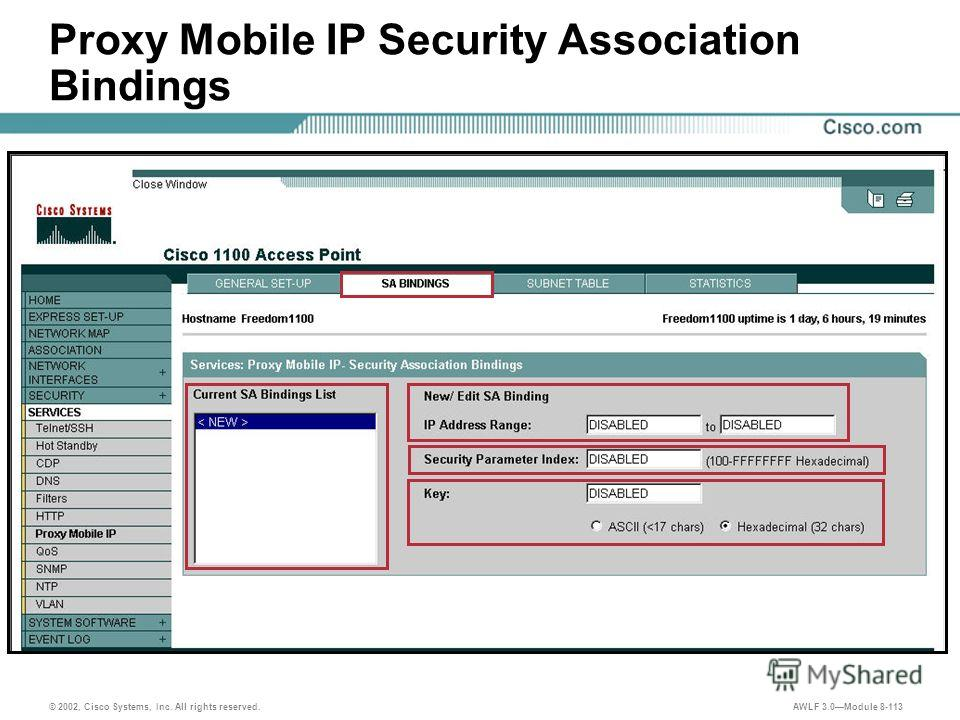 © 2002, Cisco Systems, Inc. All rights reserved. AWLF 3.0Module 8-113 Proxy Mobile IP Security Association Bindings
