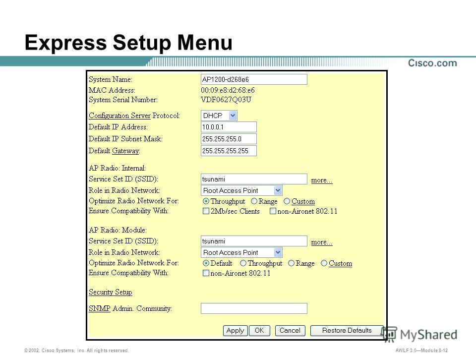 © 2002, Cisco Systems, Inc. All rights reserved. AWLF 3.0Module 8-12 Express Setup Menu