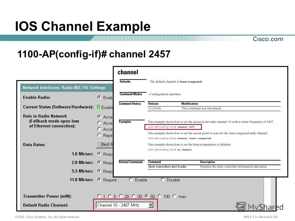 © 2002, Cisco Systems, Inc. All rights reserved. AWLF 3.0Module 8-128 1100-AP(config-if)# channel 2457 IOS Channel Example