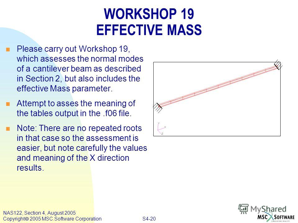 S4-20 NAS122, Section 4, August 2005 Copyright 2005 MSC.Software Corporation WORKSHOP 19 EFFECTIVE MASS n Please carry out Workshop 19, which assesses the normal modes of a cantilever beam as described in Section 2, but also includes the effective Ma