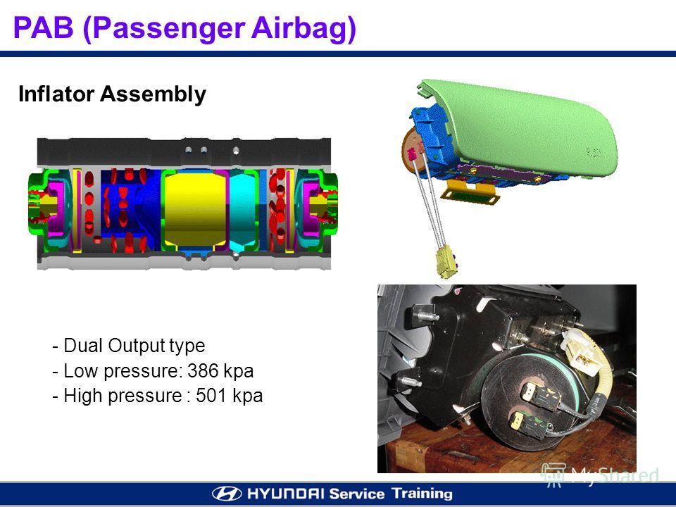 - - Dual Output type - - Low pressure: 386 kpa - - High pressure : 501 kpa Inflator Assembly
