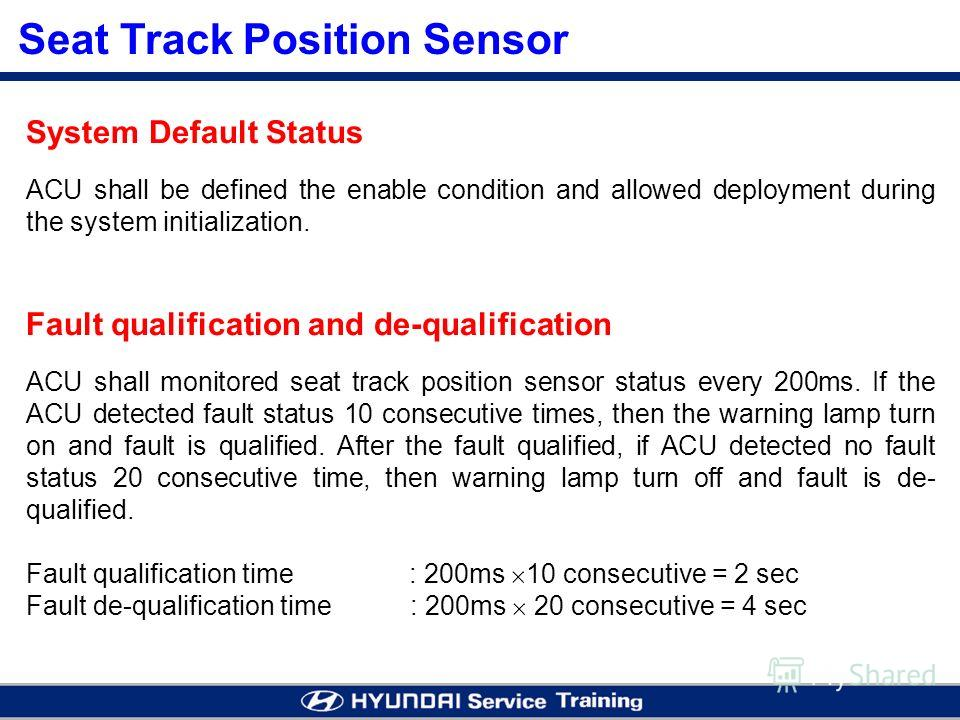Seat Track Position Sensor System Default Status ACU shall be defined the enable condition and allowed deployment during the system initialization. Fault qualification and de-qualification ACU shall monitored seat track position sensor status every 2