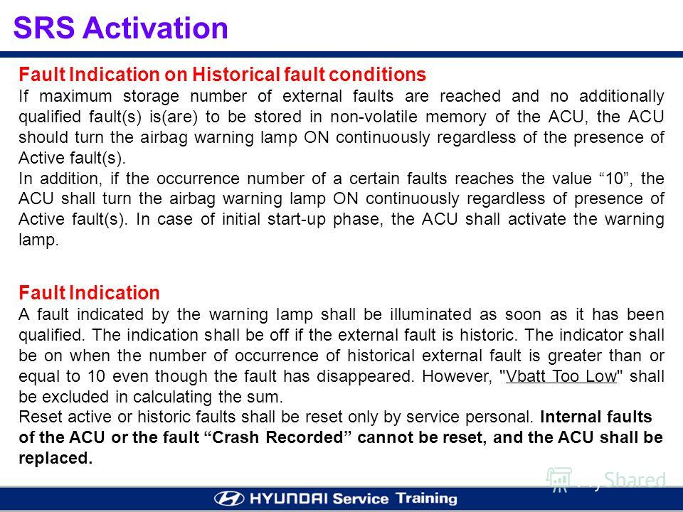 Fault Indication on Historical fault conditions If maximum storage number of external faults are reached and no additionally qualified fault(s) is(are) to be stored in non-volatile memory of the ACU, the ACU should turn the airbag warning lamp ON con