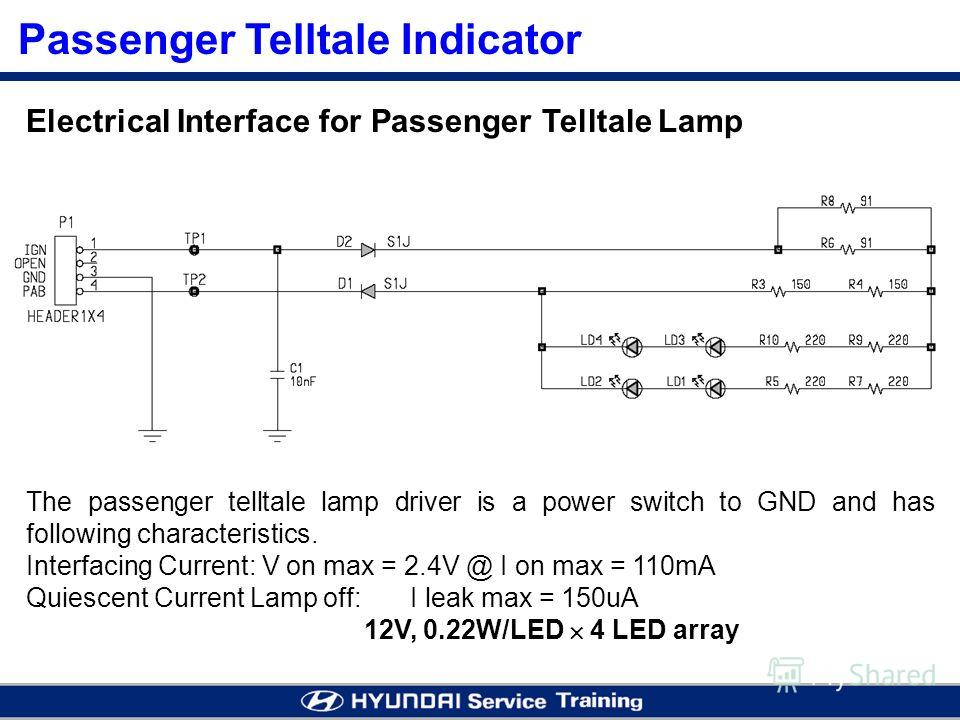Electrical Interface for Passenger Telltale Lamp Passenger Telltale Indicator The passenger telltale lamp driver is a power switch to GND and has following characteristics. Interfacing Current: V on max = 2.4V @ I on max = 110mA Quiescent Current Lam