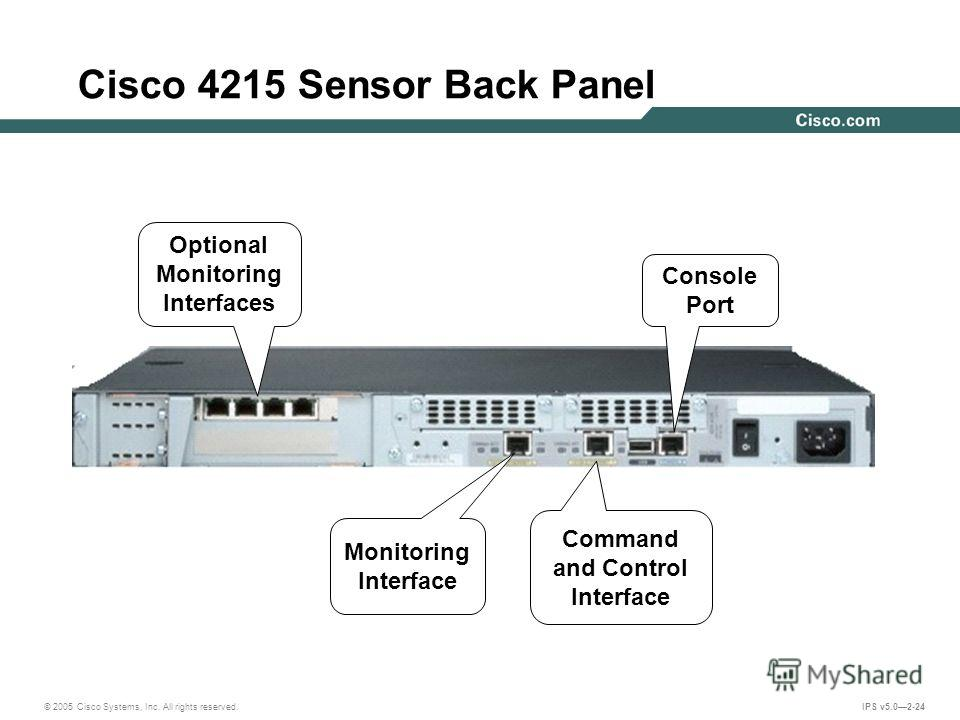 © 2005 Cisco Systems, Inc. All rights reserved. IPS v5.02-24 Cisco 4215 Sensor Back Panel Monitoring Interface Command and Control Interface Console Port Optional Monitoring Interfaces