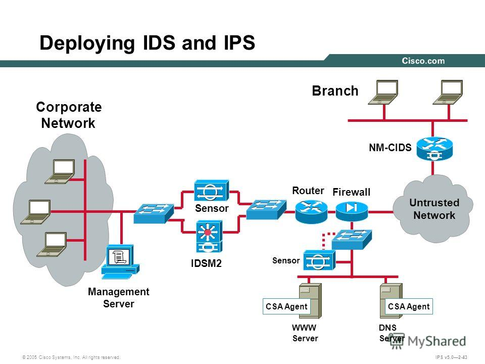 © 2005 Cisco Systems, Inc. All rights reserved. IPS v5.02-43 Deploying IDS and IPS DNS Server WWW Server Branch Management Server Sensor Firewall Sensor Router IDSM2 NM-CIDS Corporate Network CSA Agent Untrusted Network