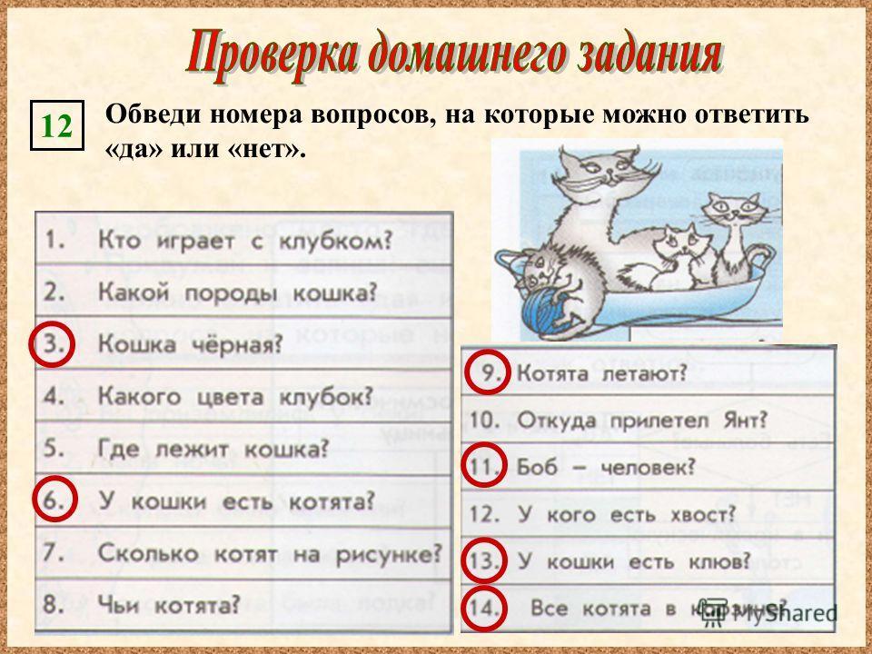 Обведи номера вопросов, на которые можно ответить «да» или «нет». 12