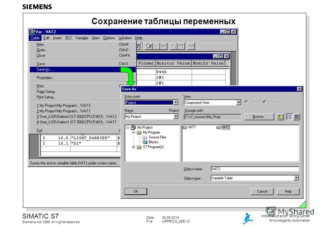 Date:30.09.2014 File:UPPROG_08E.10 SIMATIC S7 Siemens AG 1999. All rights reserved. Information and Training Center Knowledge for Automation Сохранение таблицы переменных