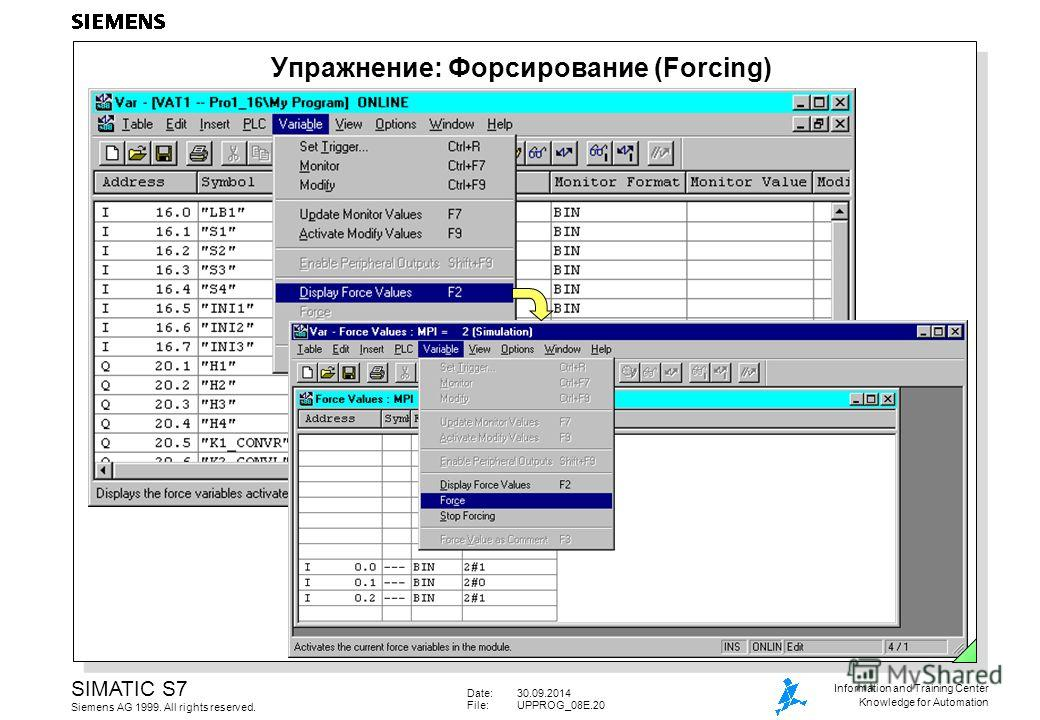 Date:30.09.2014 File:UPPROG_08E.20 SIMATIC S7 Siemens AG 1999. All rights reserved. Information and Training Center Knowledge for Automation Упражнение: Форсирование (Forcing)