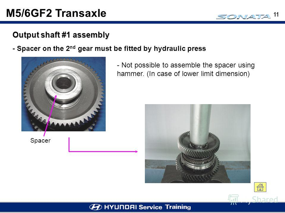11 Output shaft #1 assembly - Not possible to assemble the spacer using hammer. (In case of lower limit dimension) - Spacer on the 2 nd gear must be fitted by hydraulic press M5/6GF2 Transaxle Spacer