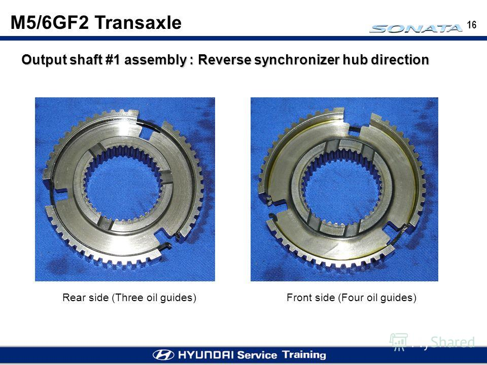 16 Output shaft #1 assembly : Reverse synchronizer hub direction Rear side (Three oil guides)Front side (Four oil guides) M5/6GF2 Transaxle