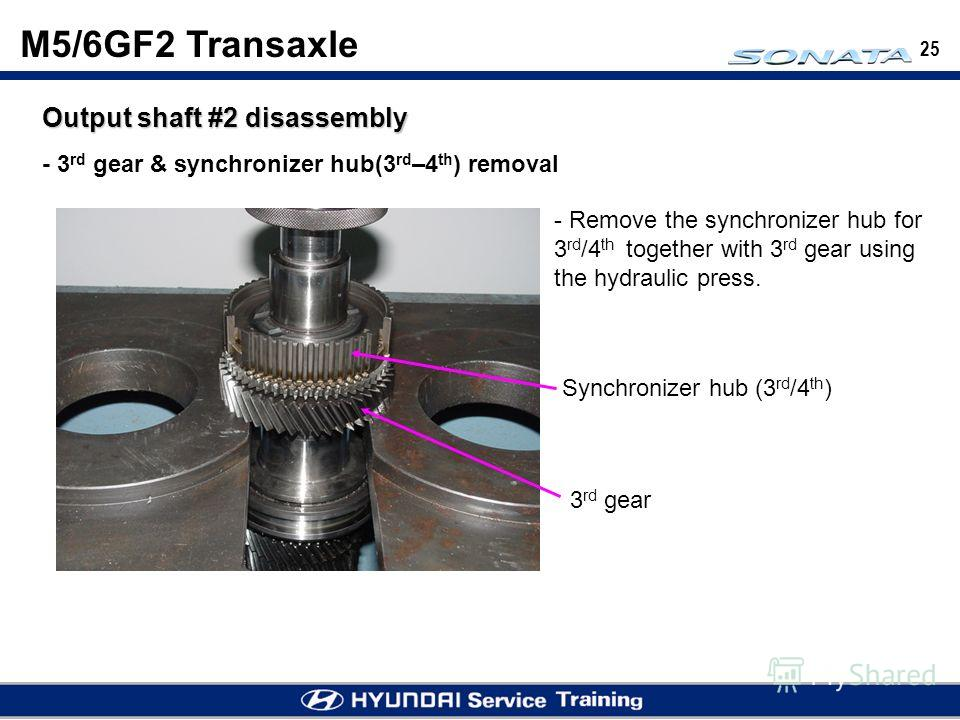25 M5/6GF2 Transaxle Output shaft #2 disassembly - 3 rd gear & synchronizer hub(3 rd –4 th ) removal - Remove the synchronizer hub for 3 rd /4 th together with 3 rd gear using the hydraulic press. 3 rd gear Synchronizer hub (3 rd /4 th )