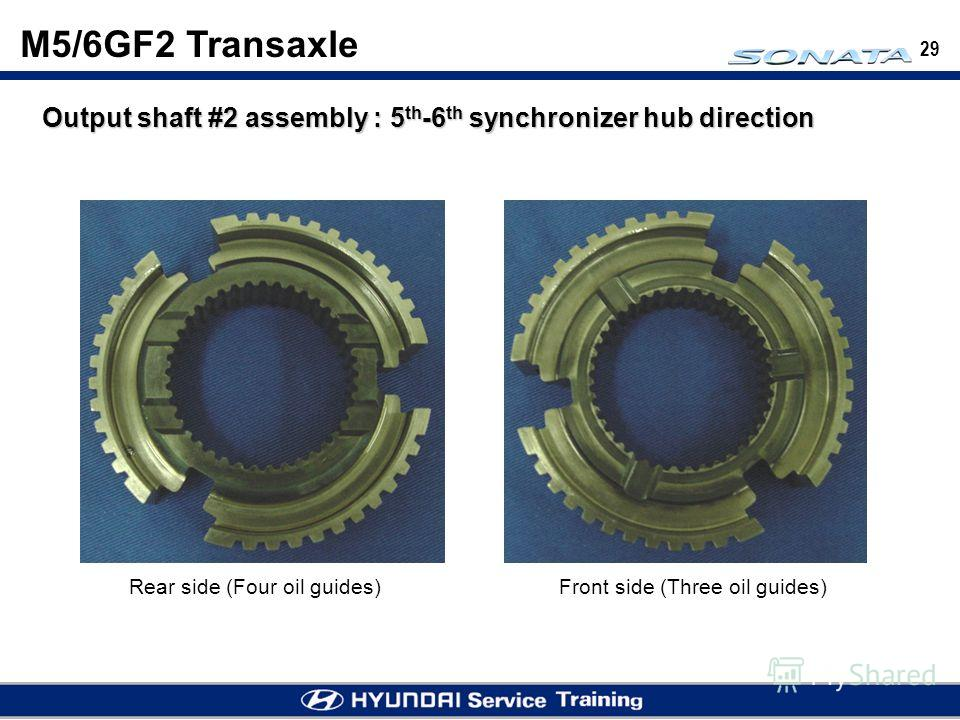 29 Output shaft #2 assembly : 5 th -6 th synchronizer hub direction Rear side (Four oil guides)Front side (Three oil guides) M5/6GF2 Transaxle