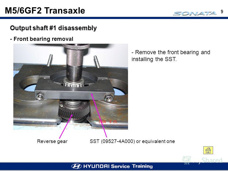 9 Output shaft #1 disassembly - Front bearing removal SST (09527-4A000) or equivalent oneReverse gear - Remove the front bearing and installing the SST. M5/6GF2 Transaxle