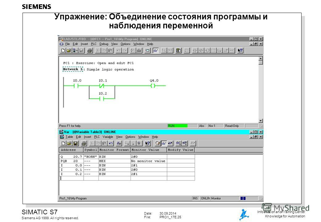 Date:30.09.2014 File: PRO1_17E.25 SIMATIC S7 Siemens AG 1999. All rights reserved. Information and Training Center Knowledge for Automation Упражнение: Объединение состояния программы и наблюдения переменной