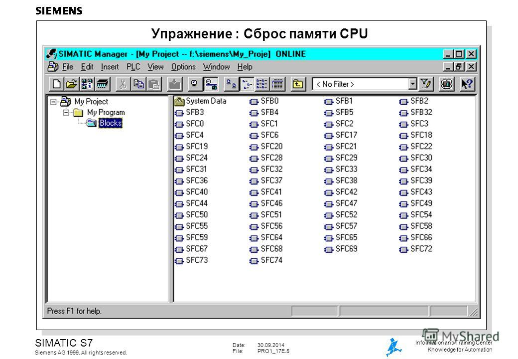 Date:30.09.2014 File: PRO1_17E.5 SIMATIC S7 Siemens AG 1999. All rights reserved. Information and Training Center Knowledge for Automation Упражнение : Сброс памяти CPU