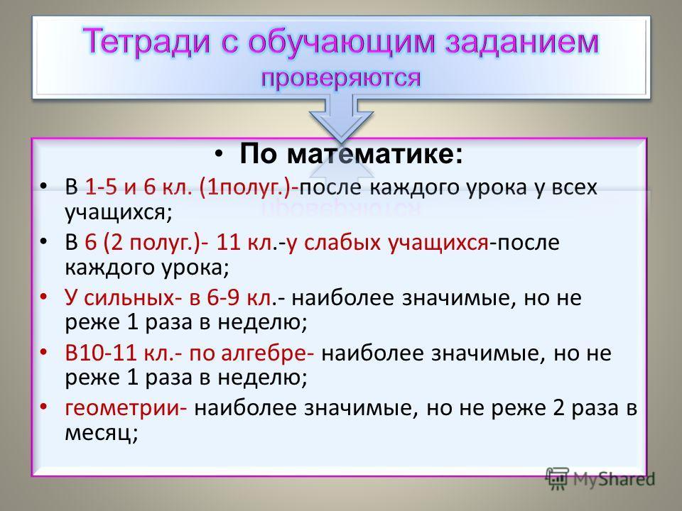 По математике: В 1-5 и 6 кл. (1 полуг.)-после каждого урока у всех учащихся; В 6 (2 полуг.)- 11 кл.-у слабых учащихся-после каждого урока; У сильных- в 6-9 кл.- наиболее значимые, но не реже 1 раза в неделю; В10-11 кл.- по алгебре- наиболее значимые,