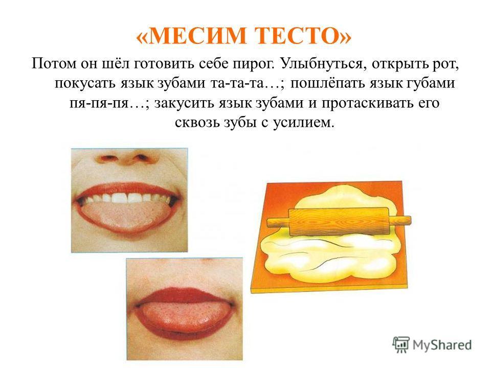 «РАСЧЕСКА» Язычок очень любил причесываться. Улыбнуться, закусить язык зубами. «Протаскивать» язык между зубами вперёд-назад, как бы «причёсывая» его. Выполнять 3-4 раза..