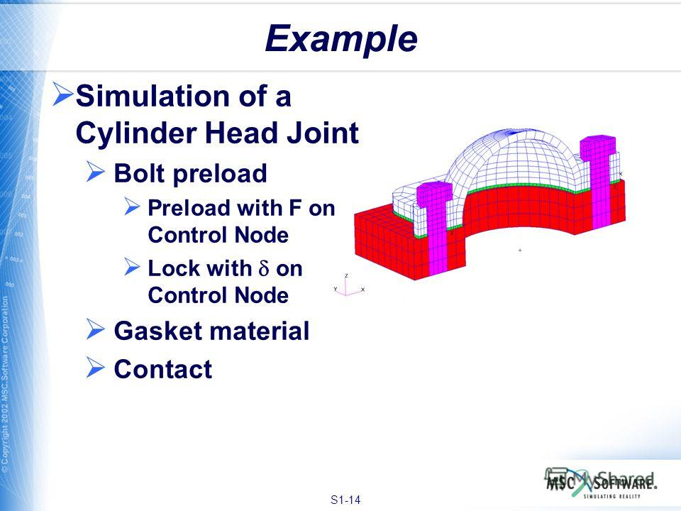 S1-14 Example Simulation of a Cylinder Head Joint Bolt preload Preload with F on Control Node Lock with on Control Node Gasket material Contact