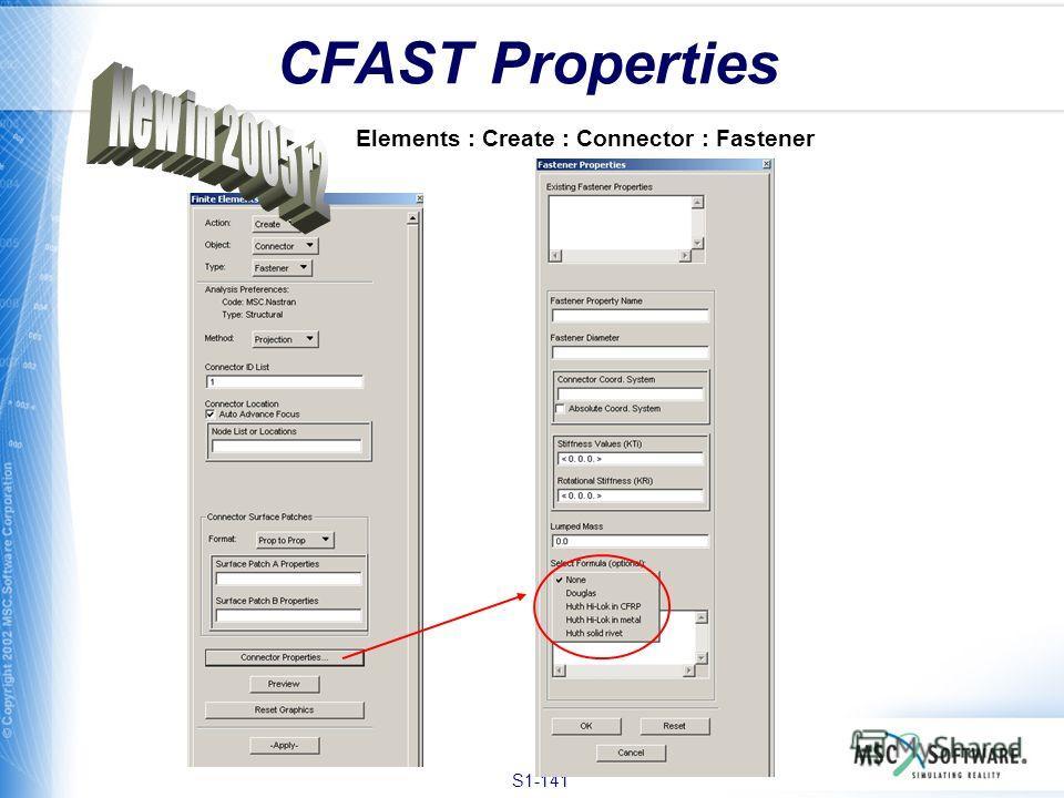 S1-141 CFAST Properties Elements : Create : Connector : Fastener