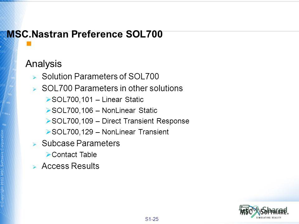 S1-25 Analysis Solution Parameters of SOL700 SOL700 Parameters in other solutions SOL700,101 – Linear Static SOL700,106 – NonLinear Static SOL700,109 – Direct Transient Response SOL700,129 – NonLinear Transient Subcase Parameters Contact Table Access