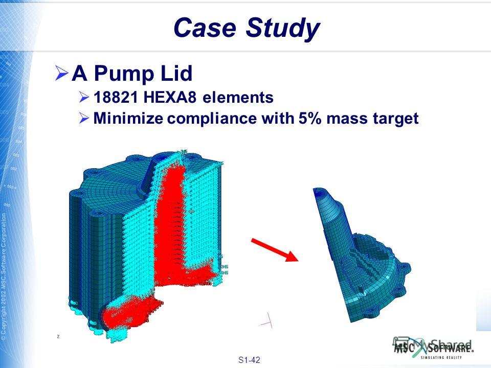 S1-42 Case Study A Pump Lid 18821 HEXA8 elements Minimize compliance with 5% mass target