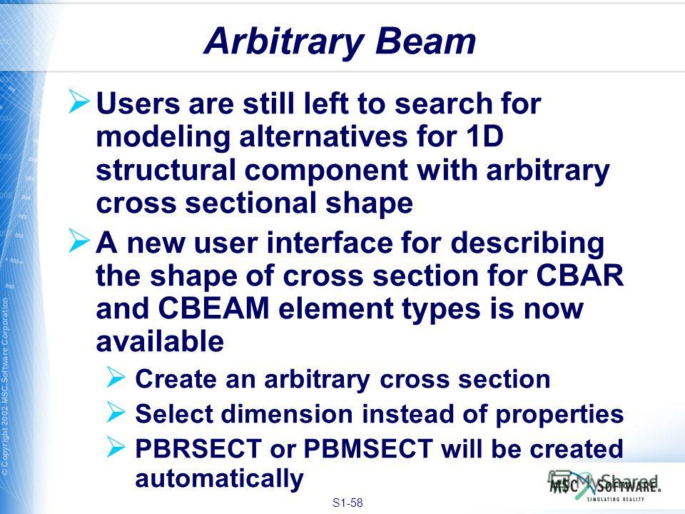 S1-58 Users are still left to search for modeling alternatives for 1D structural component with arbitrary cross sectional shape A new user interface for describing the shape of cross section for CBAR and CBEAM element types is now available Create an