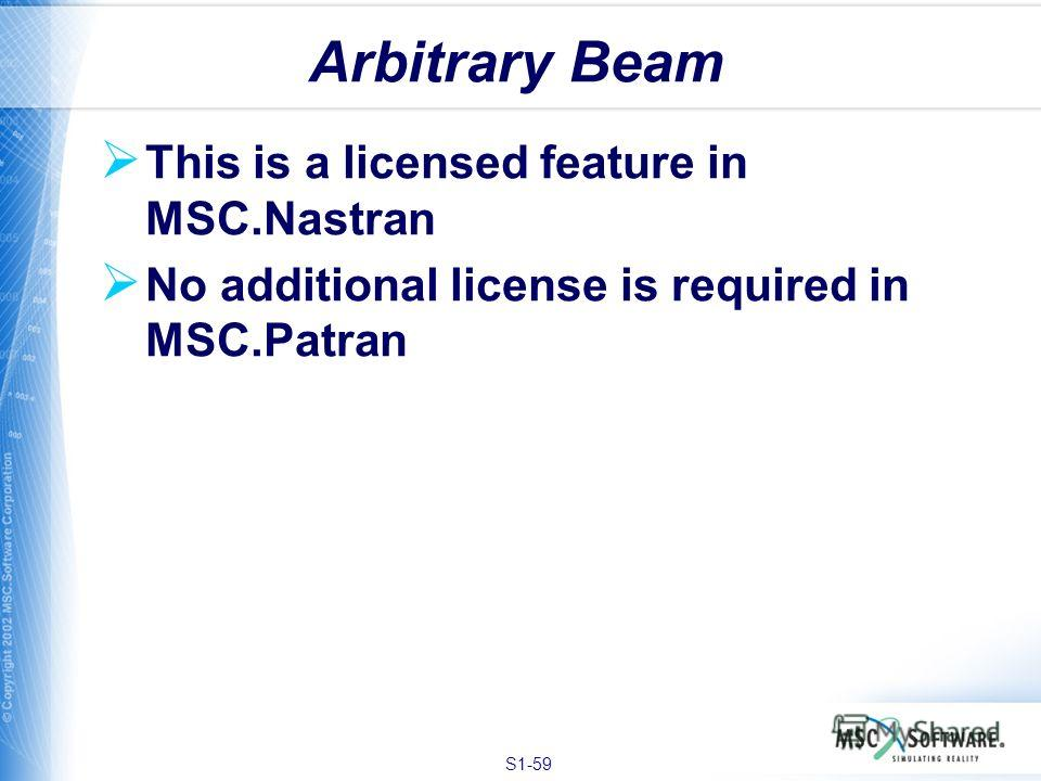 S1-59 This is a licensed feature in MSC.Nastran No additional license is required in MSC.Patran Arbitrary Beam