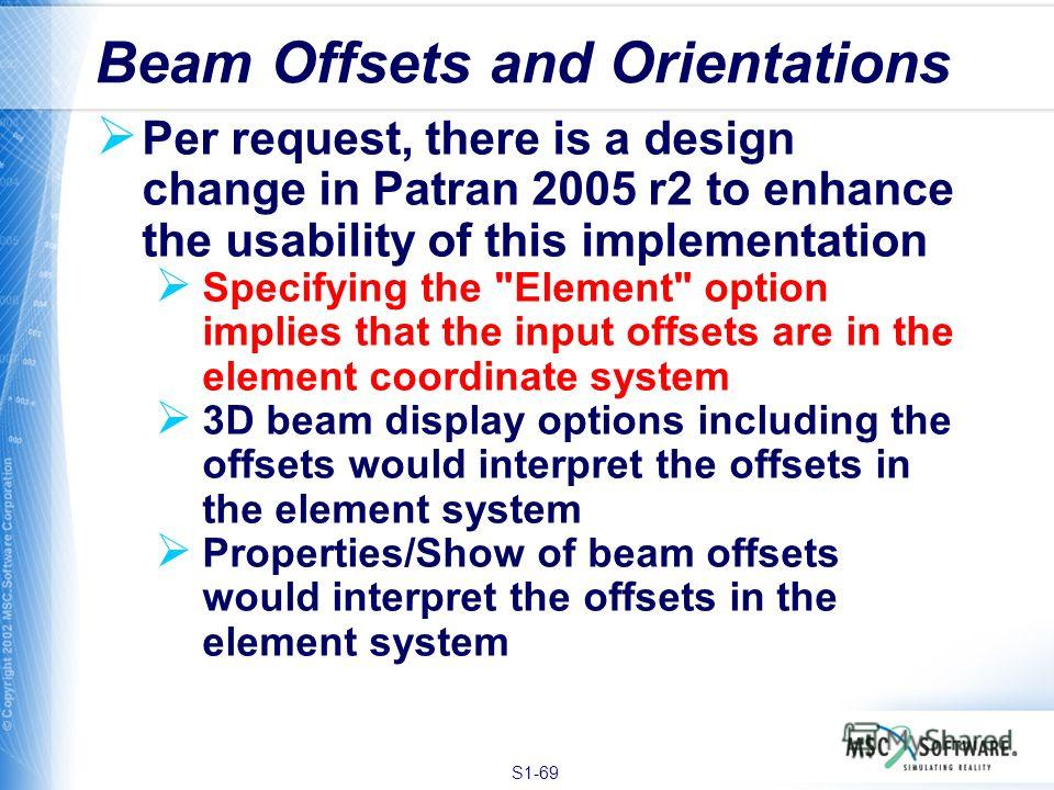 S1-69 Per request, there is a design change in Patran 2005 r2 to enhance the usability of this implementation Specifying the